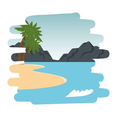 beach scene summer landscape icon vector illustration design Imagens - 129799681