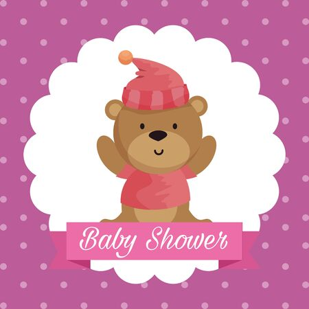 label of beard with hat and shirt with bibbon message to baby shower vector illustration