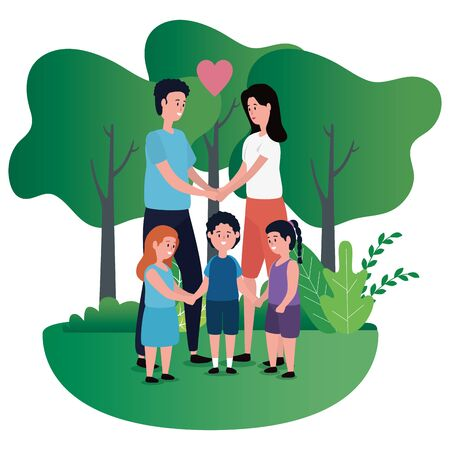 parents couple with kids on the park vector illustration design