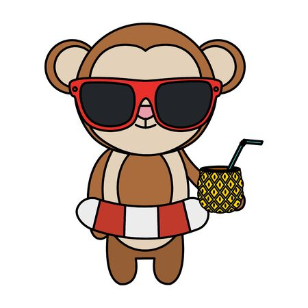 cute monkey with float and pineapple cocktail vector illustration design