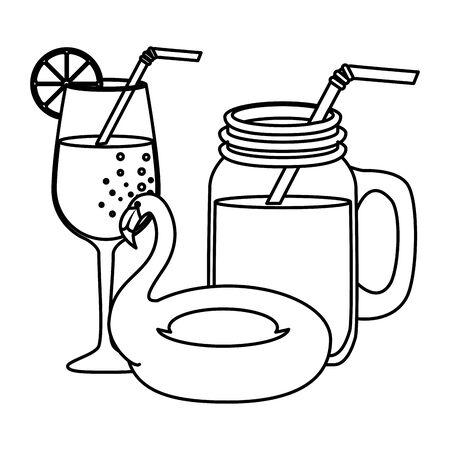 summer tropical cocktails and flemish float vector illustration design Stock Illustratie