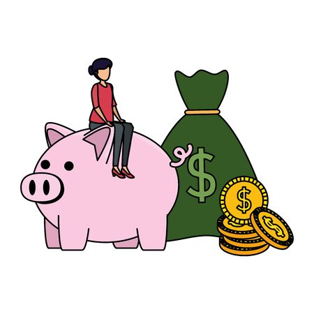 young woman with piggy savings and money sack vector illustration design Illustration