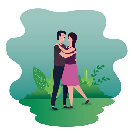 woman and man couple dancing together with bushes plants, vector illustration Ilustrace