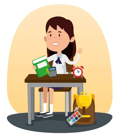 girl student in the desk with book and calculator with clock to back to school vector illustration Ilustração