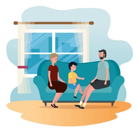 old woman and man with their grandson in the sofa to family together, vector illustration