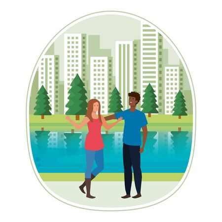 young interracial lovers couple in the landscape vector illustration design Ilustrace