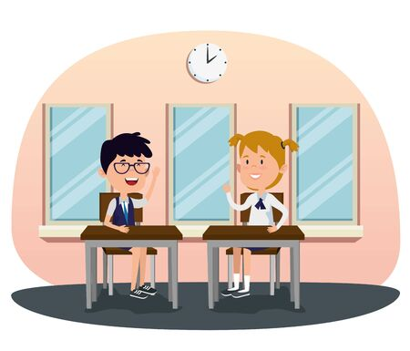 girl and boy students in the desk with uniform and clock to back to school vector illustration