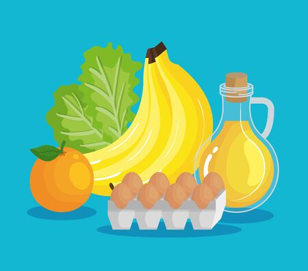 bananas with olive oil and eggs with lettuce and orange to healthy food vector illustration