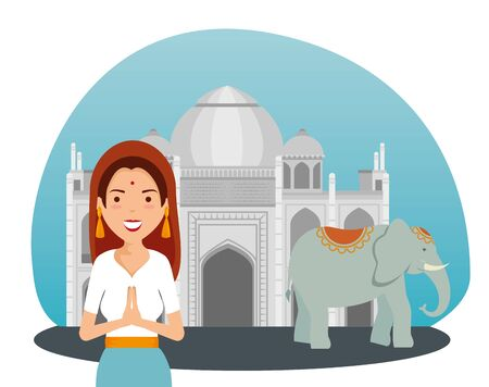 india woman with taj mahal and elephant to independence day vector illustration  イラスト・ベクター素材