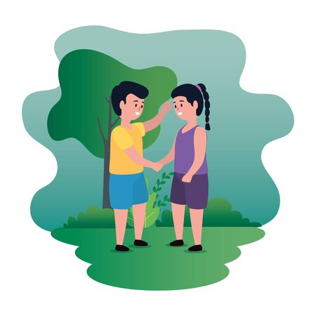 cute girl and boy children with casual clothes and trees and bushes plants, vector illustration Иллюстрация