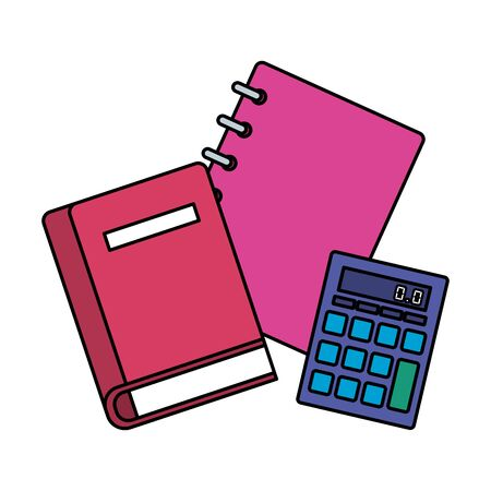 note books school and calculator math vector illustration design