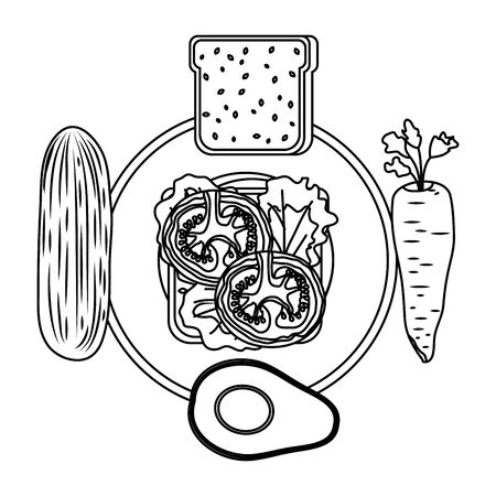 dish with fresh vegetables and bread healthy food vector illustration design 写真素材 - 129830948