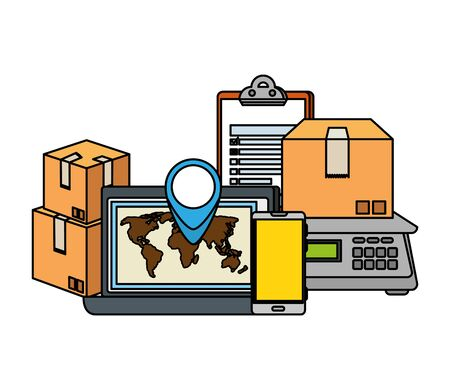 laptop computer with delivery service icons vector illustration design Standard-Bild - 129830955
