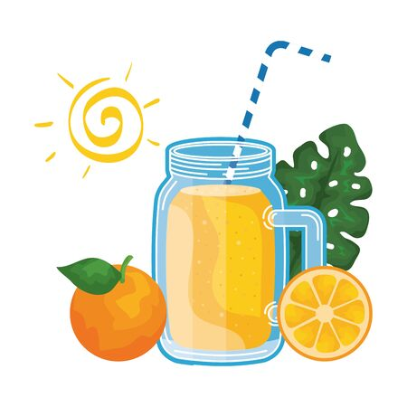 juice orange fruit jar with straw and sun vector illustration design Archivio Fotografico - 129830949