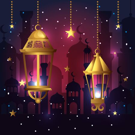 lamps with star hanging to ramadan kareem vector illustration