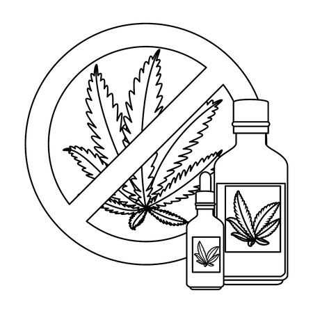cannabis leafs with denied symbol and bottles product vector illustration design