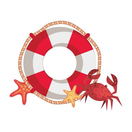 marine float with crab and starfish vector illustration design