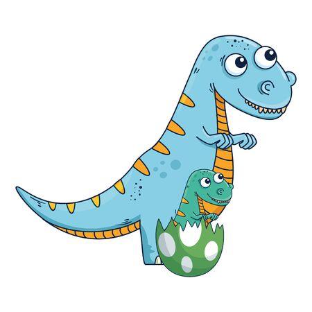 mother tyrannosaurus rex with baby breaking the shell egg vector illustration Stock Illustratie