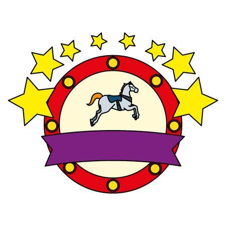 carousel horse carnival with stars emblem vector illustration design
