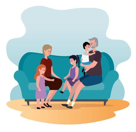 old woman and man with their granddaughters and grandson to family together, vector illustration