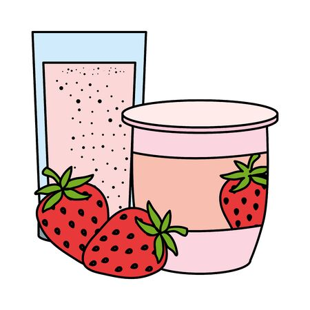 strawberry fruit yogurt fresh with glass vector illustration design