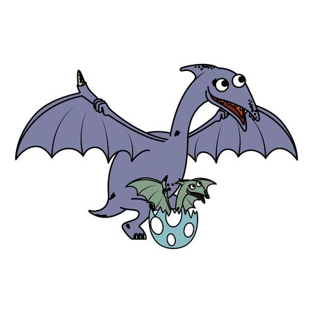 mother Pterodactyl with baby breaking the shell egg vector illustration design Stockfoto - 129858260