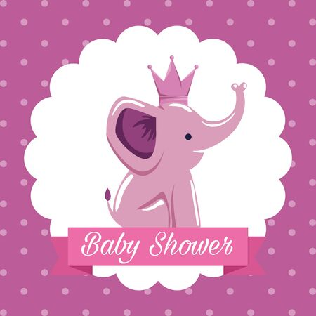 label of elephant with crown and ribbon message decoration to baby shower vector illustration