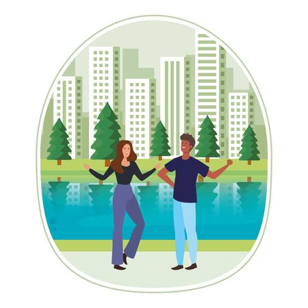 young interracial lovers couple in the landscape vector illustration design Иллюстрация