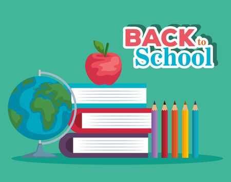 books with apple fruit and global map with pencils colors to back to school vector illustration Çizim