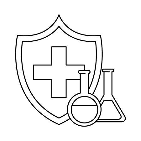 shield with medical cross and tubes test vector illustration design Illustration