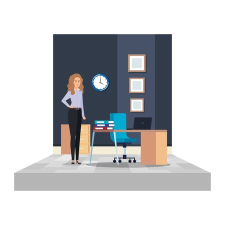 elegant businesswoman in the office scene vector illustration design Ilustração