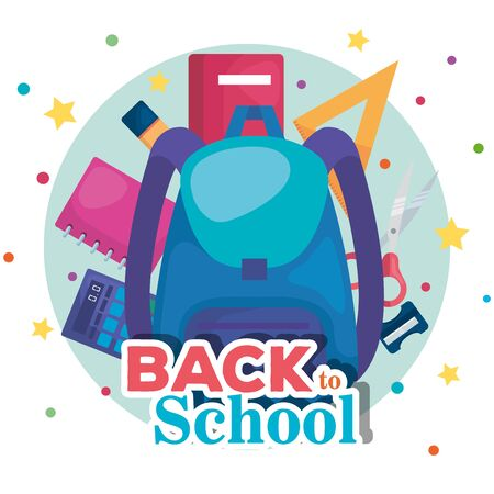 backpack with notebook and triangle ruler with calculator to back to school vector illustration