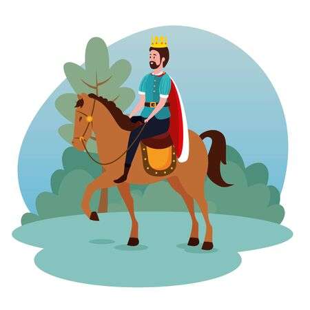 man king with crown and suit riding horse to tale character, vector illustration