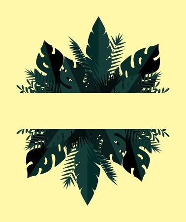 summer frame with tropical and exotic leafs plants vector illustration design