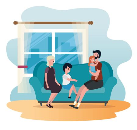 old woman and man couple with their granddaughter and grandson to family together, vector illustration