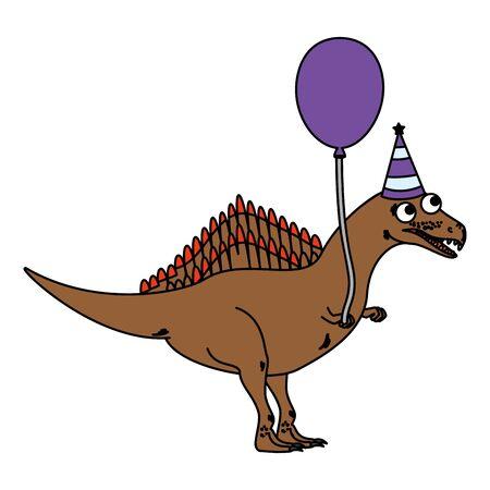 cute spinosaurus with balloon helium vector illustration design  イラスト・ベクター素材