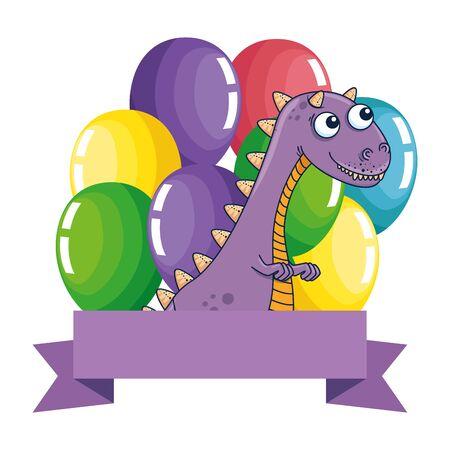 cute tyrannosaurus rex with balloons helium frame vector illustration design  イラスト・ベクター素材