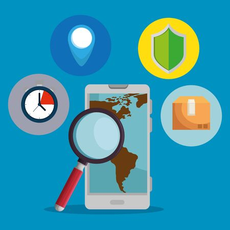 smartphone with map and magnifying glass service to delivery distribution vector illustration