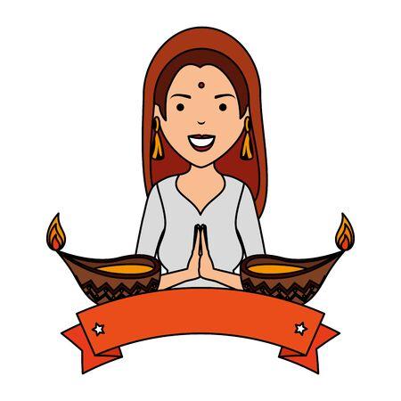 beautiful woman from india with ornamental candles vector illustration design Illusztráció