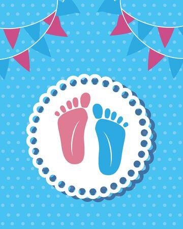 foot prints baby shower card vector illustration design Banque d'images - 129763265