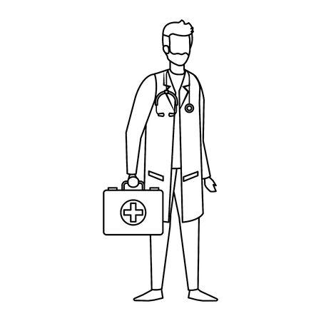 doctor with stethoscope and medical kit vector illustration design Ilustração