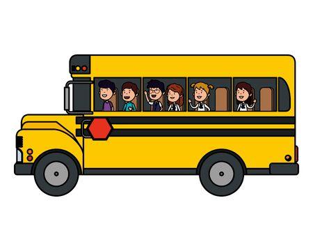 어린이 벡터 일러스트 디자인의 그룹과 학교 버스 교통 벡터 (일러스트)