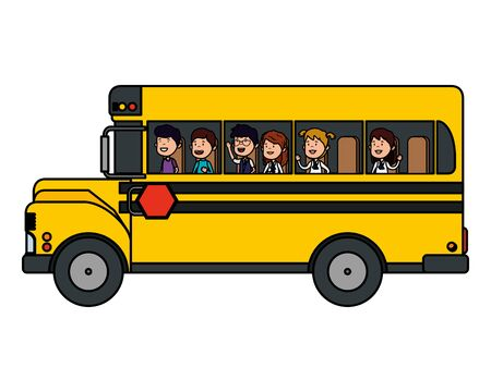trasporto scuolabus con un gruppo di bambini illustrazione vettoriale design Vettoriali
