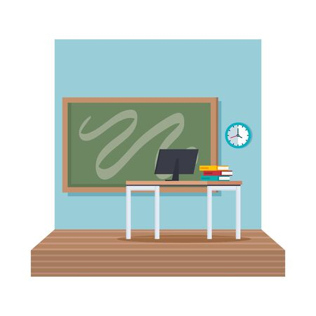 classroom school scene icon vector illustration design