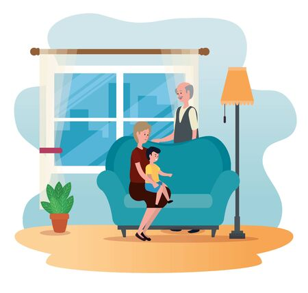 happy old woman and man with their grandson to family together, vector illustration Ilustração