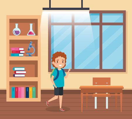 boy student in the classroom with desk and window to back to school vector illustration