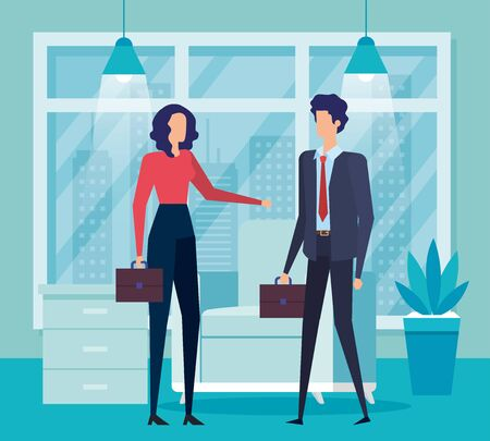professional businesswoman and businessman teamwork with suitcase in the office, vector illustration