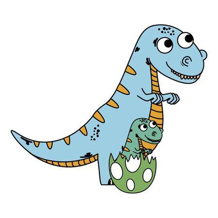 mother tyrannosaurus rex with baby breaking the shell egg vector illustration Иллюстрация