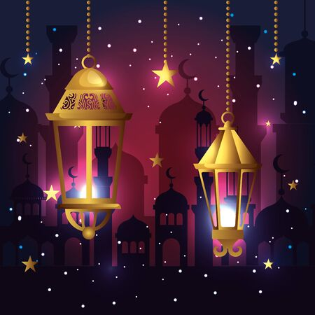 lamps and star hanging decoration to festival vector illustration