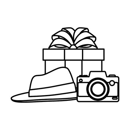 giftbox and camera with elegant hat vector illustration design